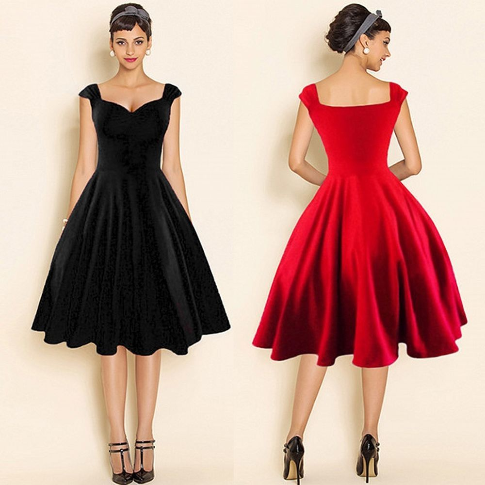 Hepburn Vintage Retro 50s 60s Evening Party Swing Pinup Rockabilly Women Dresses Trendy Party Dresses Retro Vintage Dresses Party Dresses For Women [ 1000 x 1000 Pixel ]