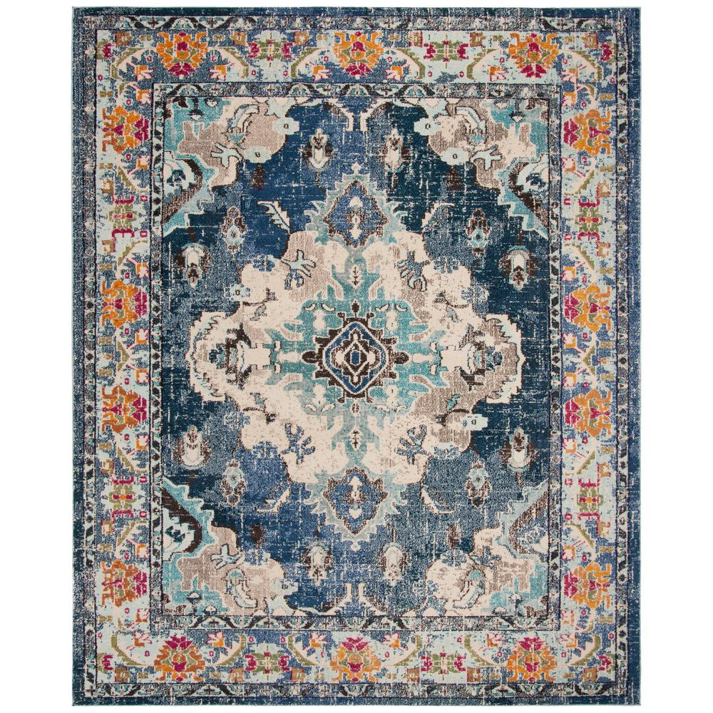 Safavieh Monaco Navy Light Blue 8 Ft X 10 Ft Area Rug Mnc243n 810 The Home Depot Square Area Rugs Light Blue Rug Safavieh Monaco