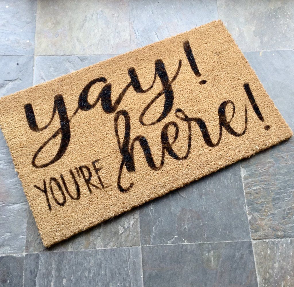 Welcome Mat, Hand Painted Coir Doormat