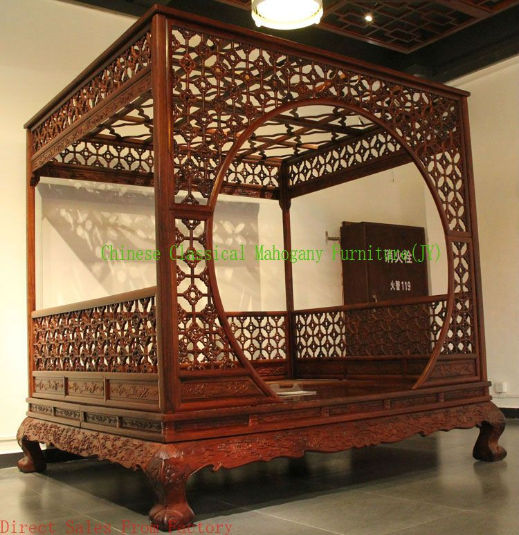 Chinese beds chinese style bed tradition luxurious for Oriental style bedroom furniture