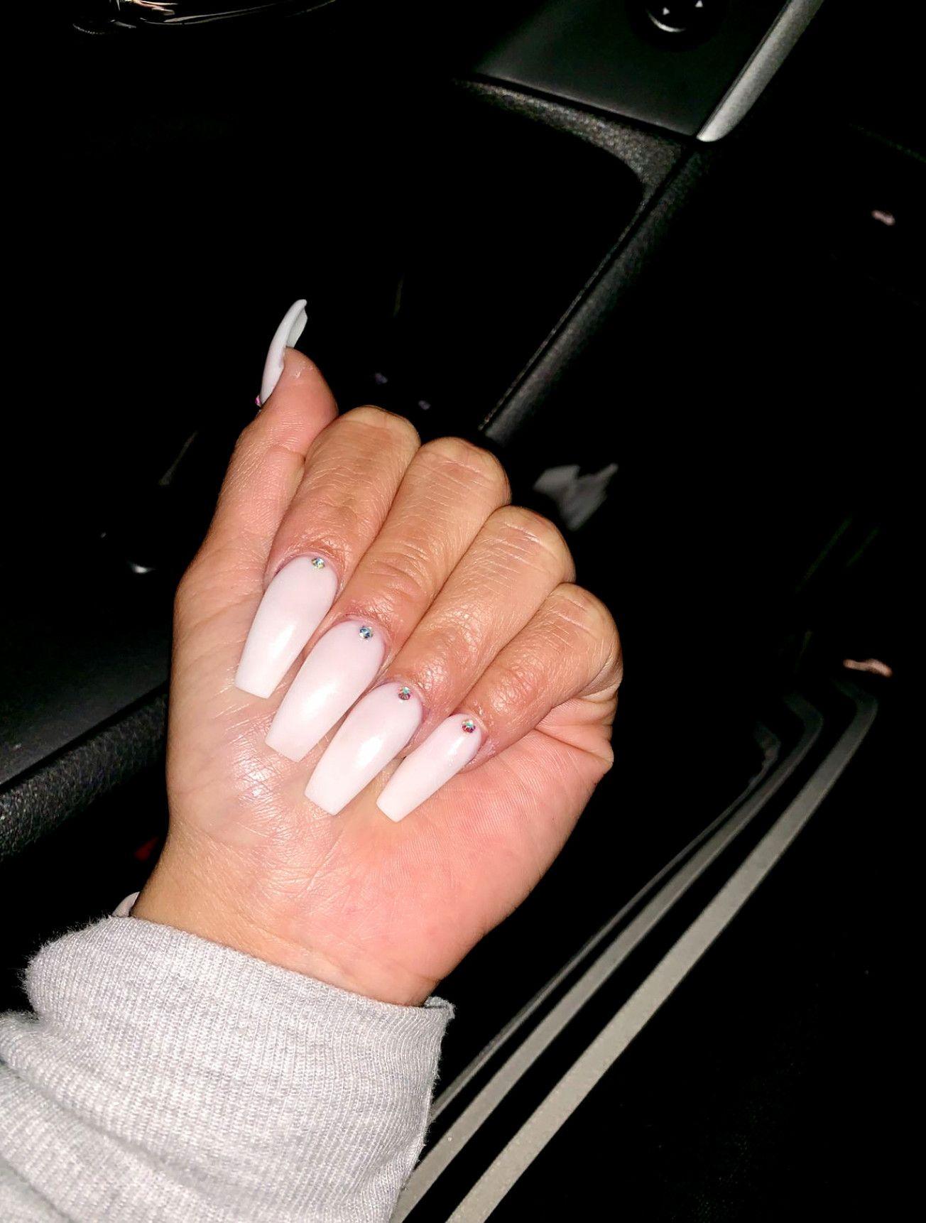 white opal\u201d acrylic powder w/ one diamond on each finger