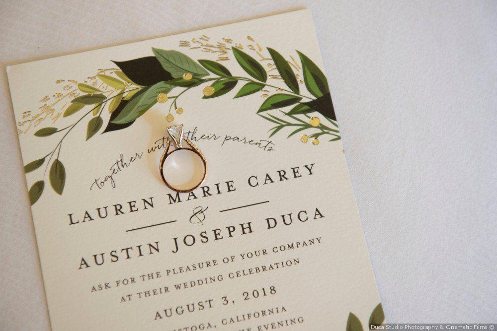Greenery Wedding Invitation Idea Simple Invites With Greenery Motif Duca Stud Fun Wedding Invitations Wedding Organizer Planner Original Wedding Invitations