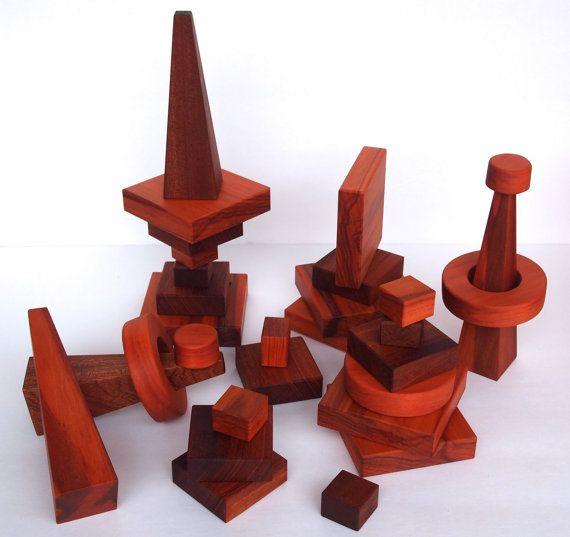 Mahogany and Peroba children's block set