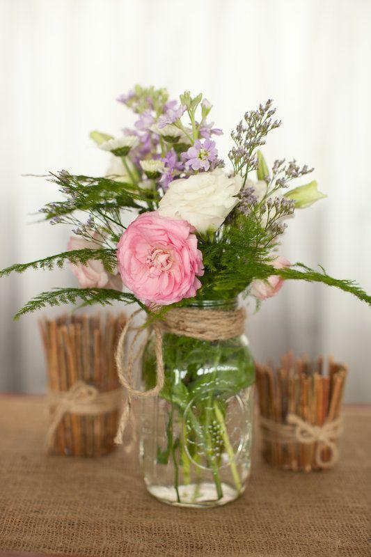 Mason Jar Centerpiece Diy Rustic Wedding Styled Pink Photography