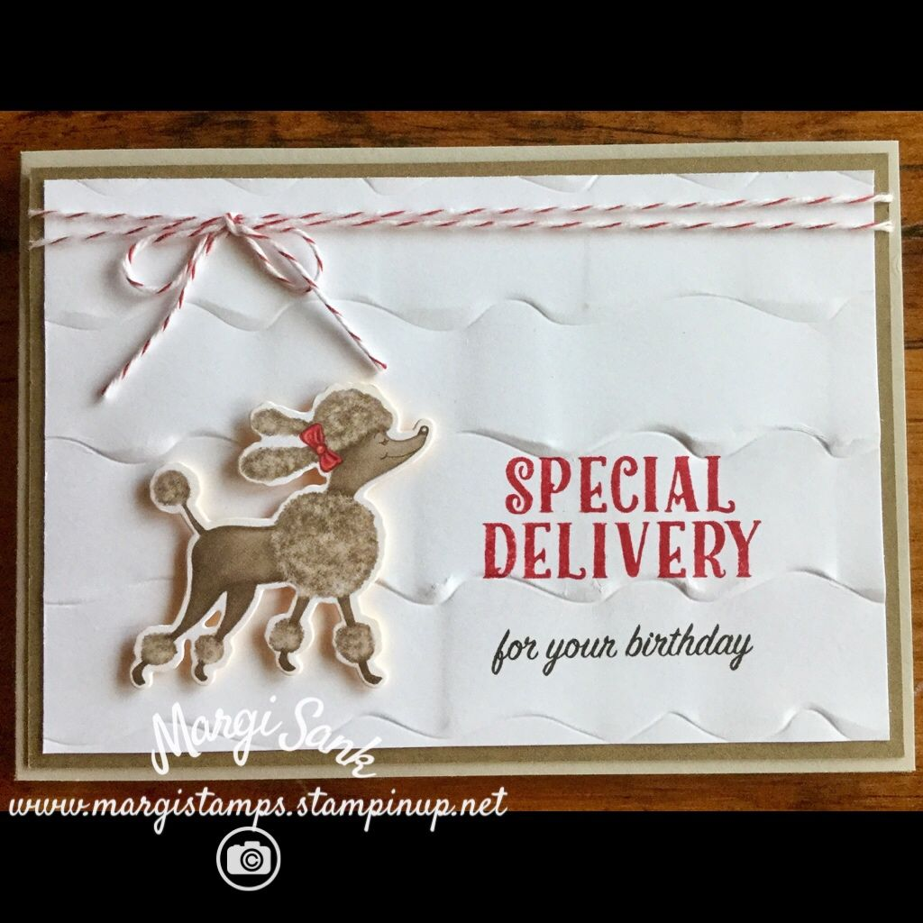 Special Delivery for your birthday with the poodle and Stampin Up