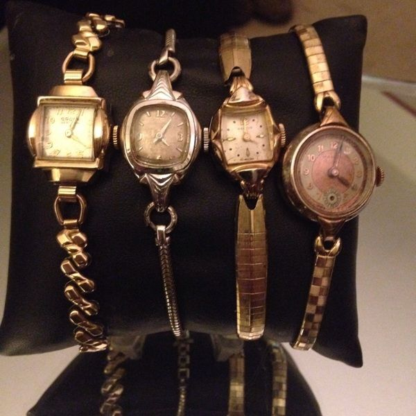 Women S Swiss 17 Jewels Antique Vintage Self Hand Winding Working 14 Gold F Watch Lot Of Four Vintage Watches Jewels Vintage