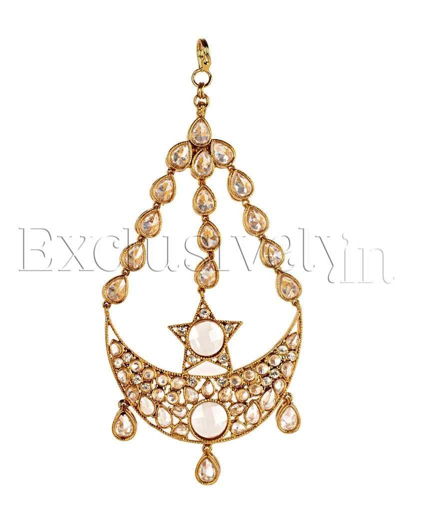 Clear Crystal Stone Encrusted Crescent Shaped Side Jhumar - Exclusively In