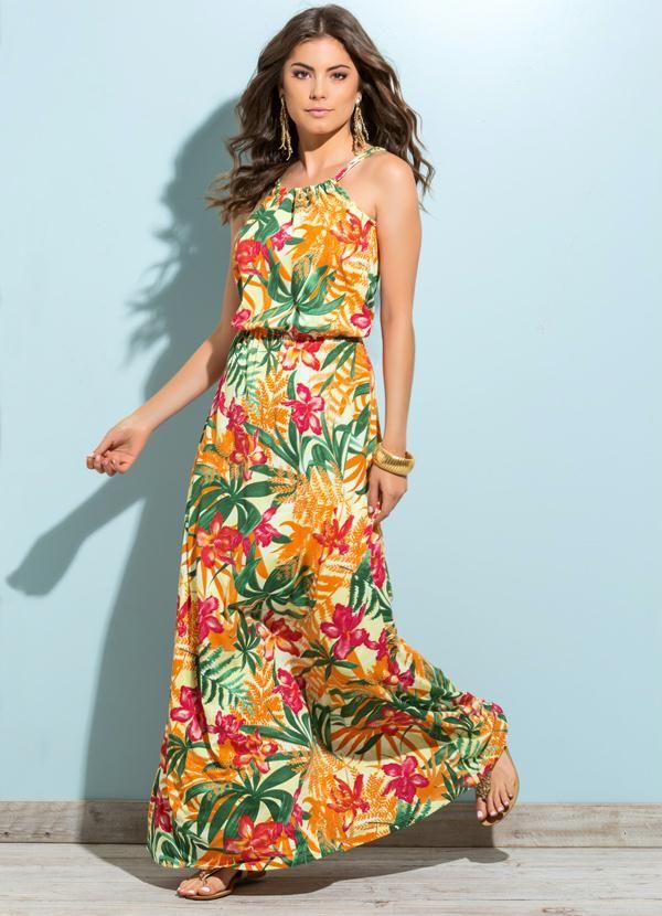 Vestido longo com estampa tropical