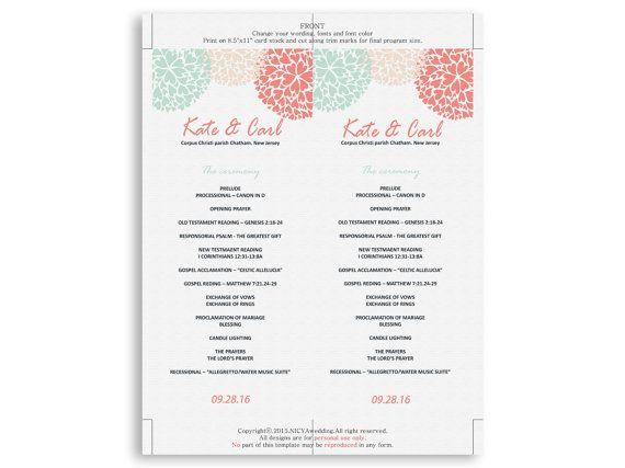 Wedding Program Template Instant Download by NicyaWedding