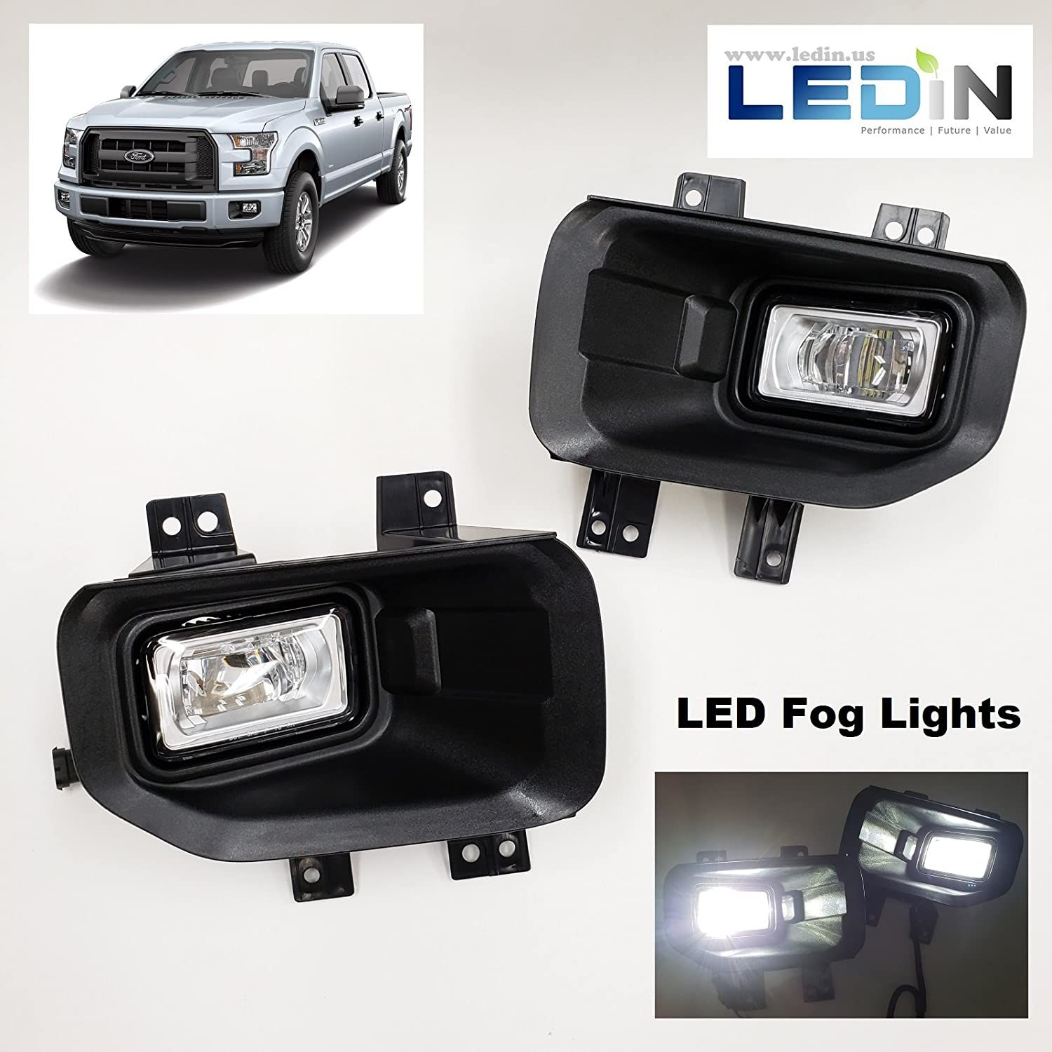Ledin For 2015 2017 Ford F150 F 150 Front Bumper Clear Led Fog Lights With Bezel Wires Switch Want Additional Info Cli Led Fog Lights Wire Switch Ford F150