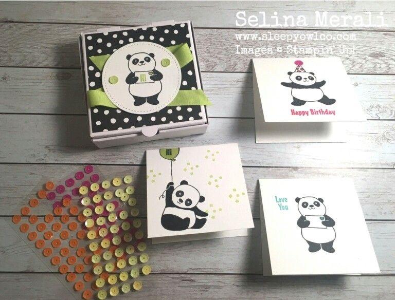 panda karten in mini pizzakarton basteln mit stampinup produkten aus dem fr hjahr sommerkatalog. Black Bedroom Furniture Sets. Home Design Ideas