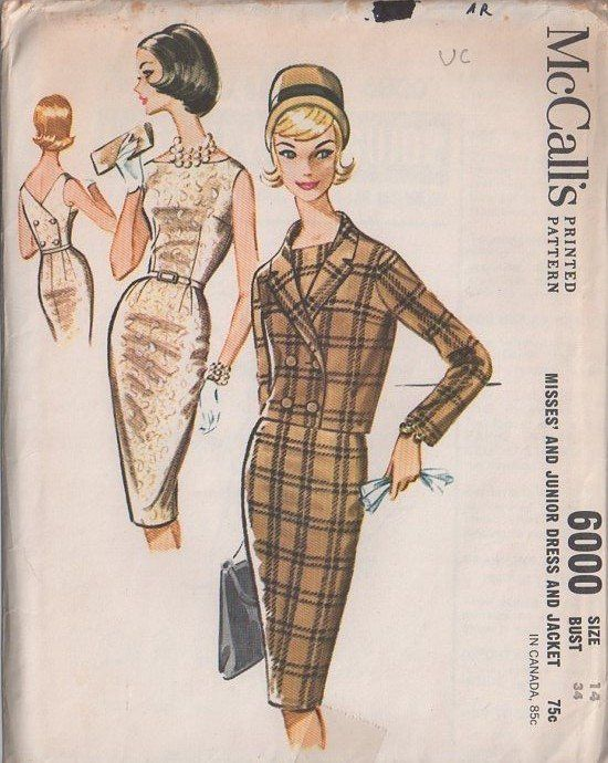 McCall's 6000 Vintage 60's Sewing Pattern VA VA VOOM Mad Men Double Breasted Back Bateau Neck Wiggle   Cocktail Party Dress, Rockabilly Gown & Double Breasted Suit Jacket