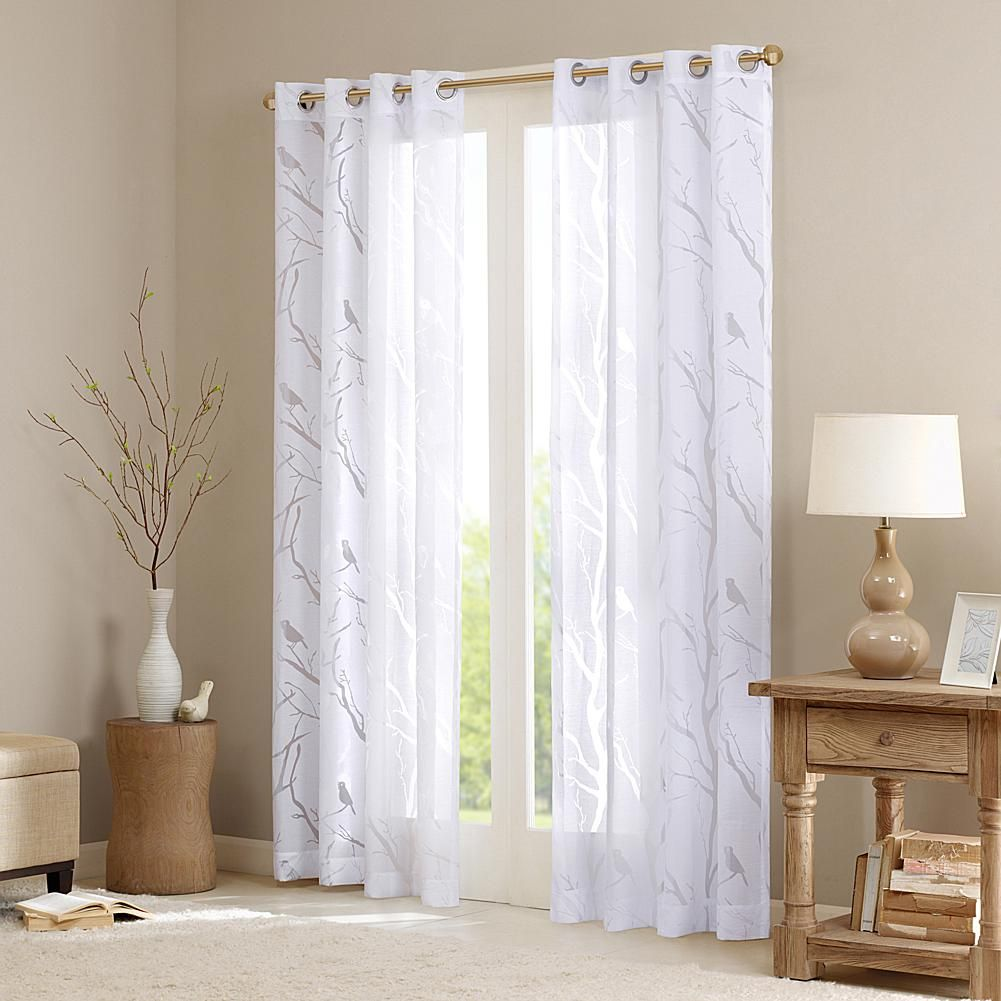 Bed bath and beyond window curtains  e and e co ltd madison park averil sheer bird window panel