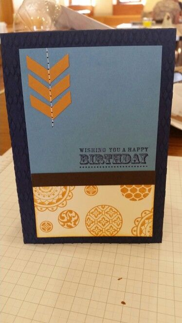 Homemade birthday card using stamps, punche, embossing and piercing tool