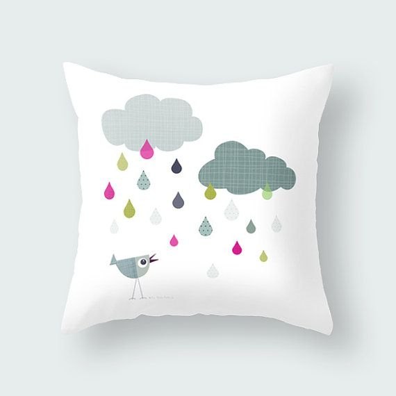 Birdy loves rain clound, grey decorative pillow case, animal kids throw pillow, kids bedding, throw pillow, nursery decor, cushion cover