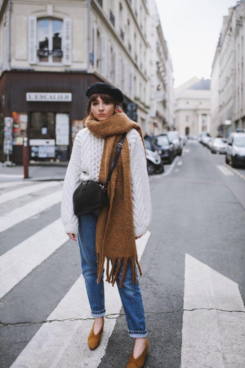 061e8f2e9a98 Topshop White Chunky Knit Sweater + Beyond Retro Vintage Jeans + Vagabond  Mustard Pumps + The Frankie Shop Oversized Scarf + Topshop Black Beret +  Sezane ...