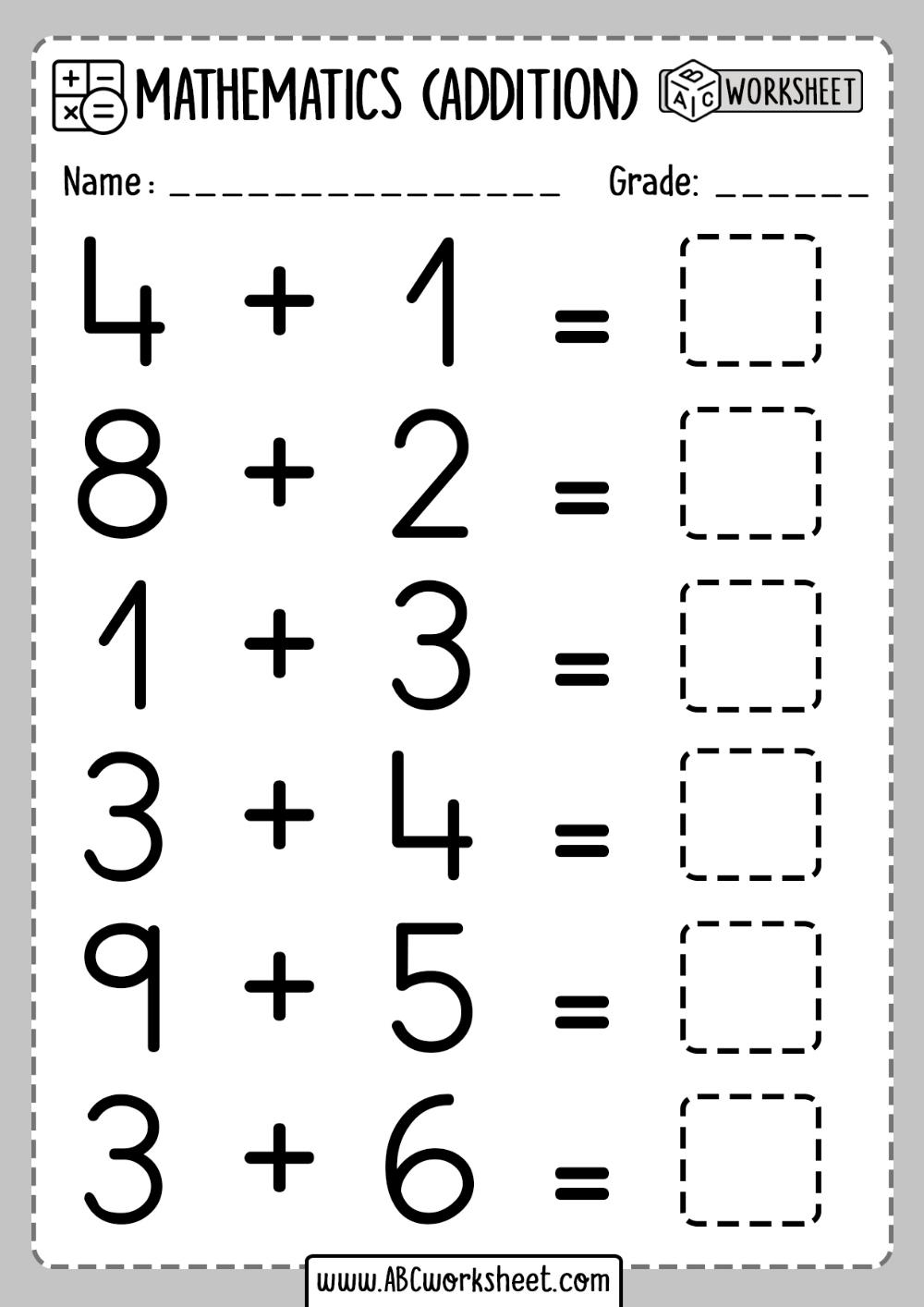 Printable addition activities for kindergarten ABC