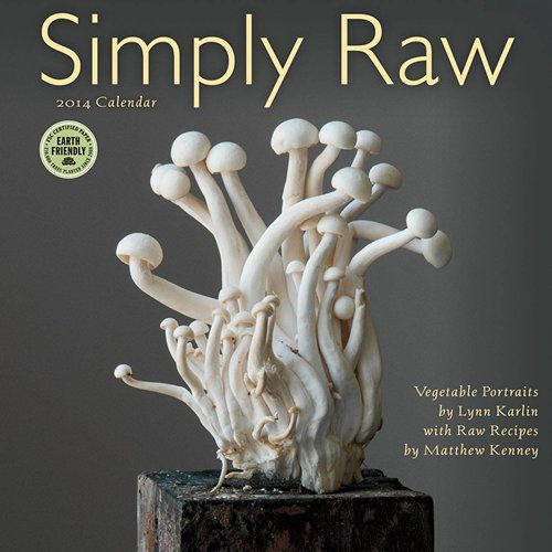 Simply Raw Wall Calendar: The Raw Food movement is an exciting culinary trend that has captured food lovers' imagination and sparked creativity in the kitchen. This calendar features stylish portraits of vegetables by Lynn Karlin. These gorgeous veggies are paired with delicious, accessible recipes by master chef and best-selling author Matthew Kenney. http://www.calendars.com/New-Years-Resolution/Simply-Raw-2014-Wall-Calendar/prod201400002191/?categoryId=cat1220004&seoCatId=cat1220004