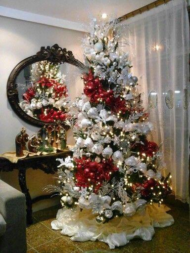 Decoracion De Arboles De Navidad Modernos Color Rojo Arboles De Navidad Decorados Decoracion Arbol De Navidad Navidad Moderna