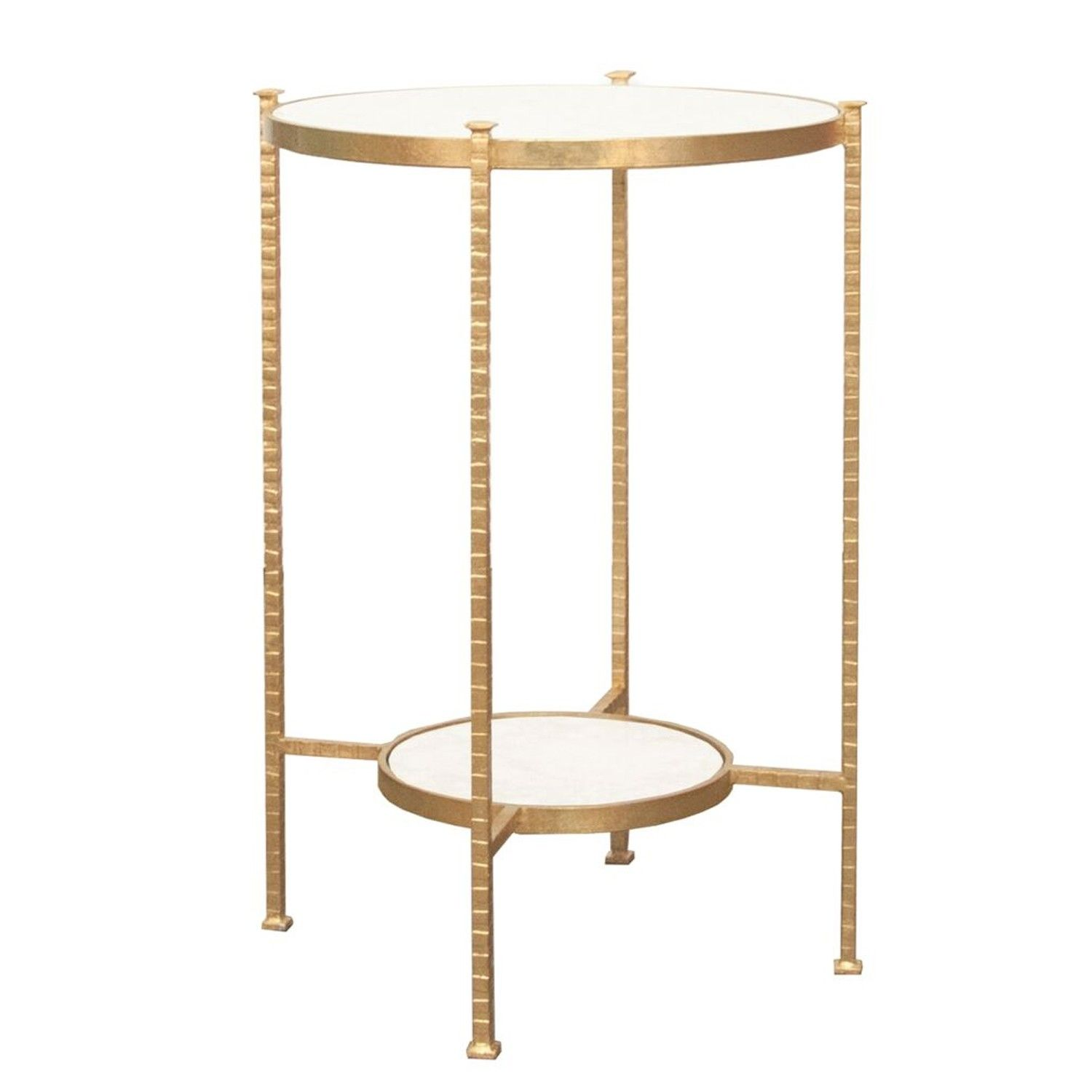 Round Two Tier Hammered Iron Table With White Carrara Marble Top In Gold Leaf Marble End Tables Side Table Silver Side Table