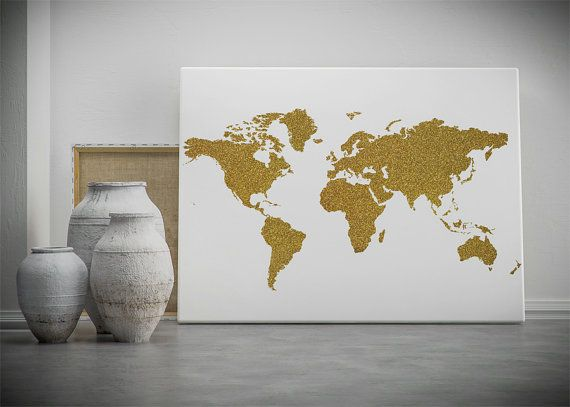 Gold world map printable wall art gold glitter world map poster collect your choice of gallery quality gicle or fine art prints custom trimmed by hand in a variety of sizes with a white border for framing map wall gumiabroncs Gallery