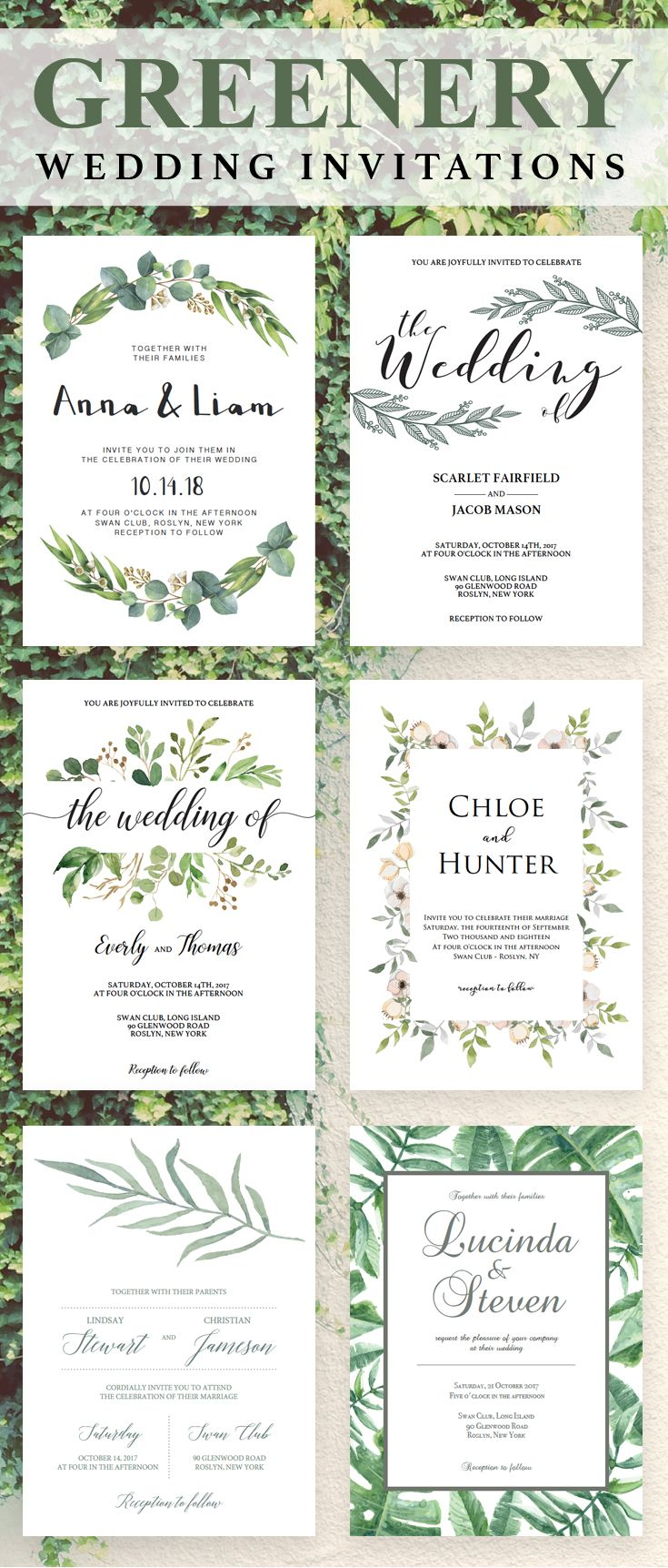Greenery wedding invitations are on trend at the moment and we can ...