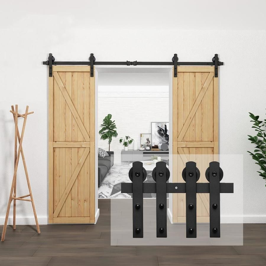 Clihome 8 Ft 96 In Black Steel Straight Strap Sliding Barn Door Track And Hardware Kit For Double Doors With Floor Guide Lowes Com In 2020 Sliding Barn Door Track Barn Door Track Barn