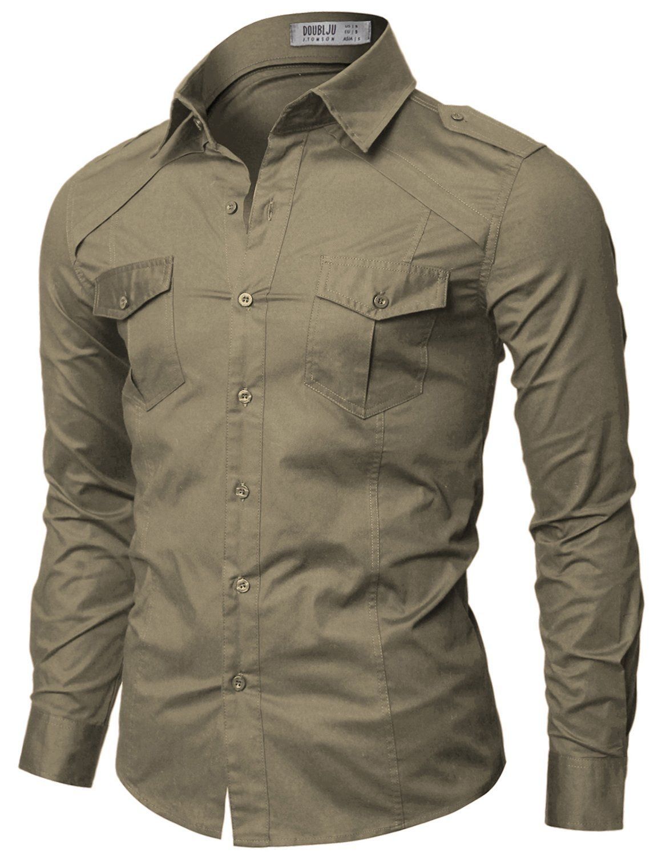 70814c2e55 Doublju Mens Casual Dos bolsillo camisas detalladas en la tienda de ropa de  hombre Amazon