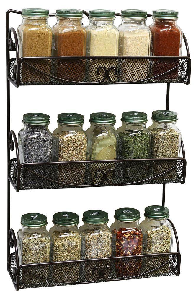 3 Tier Spice Rack Kitchen Holder Storage Wall Mounted Cabinet Shelf Organizer #Deco