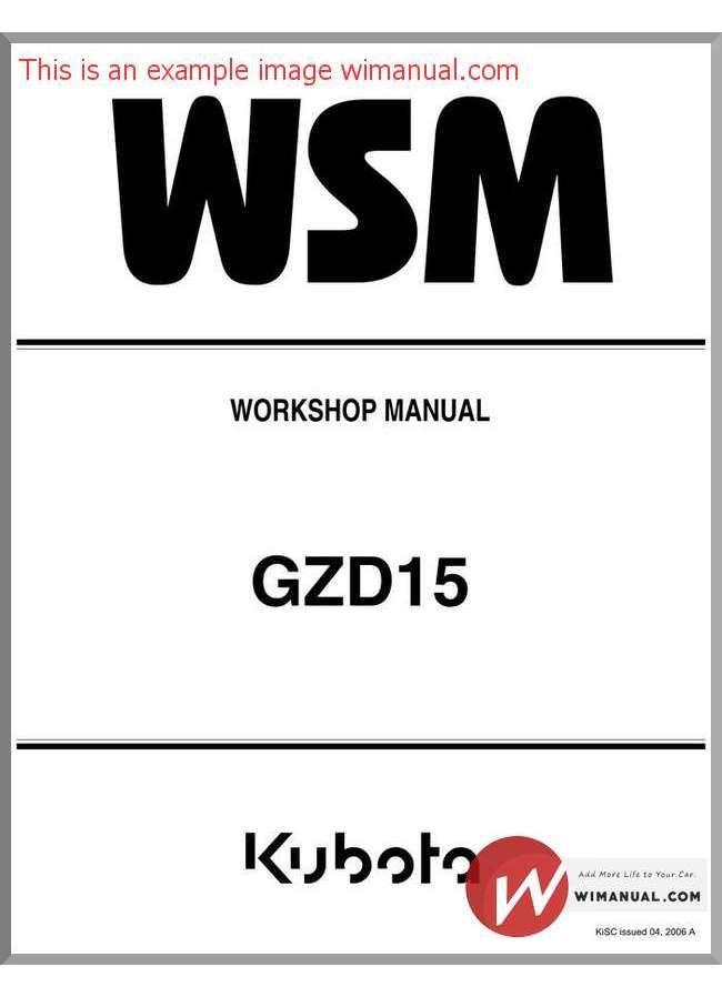 Kubota Tractor Gzd15 Workshop Manual pdf download. This manual has ...