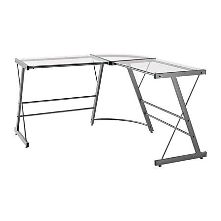 Altra Glass L Shaped Computer Desk 30 H X 51 W X 51 D Gray By Office Depot Officemax Altra Furniture Glass Desk Office Computer Desk Grey