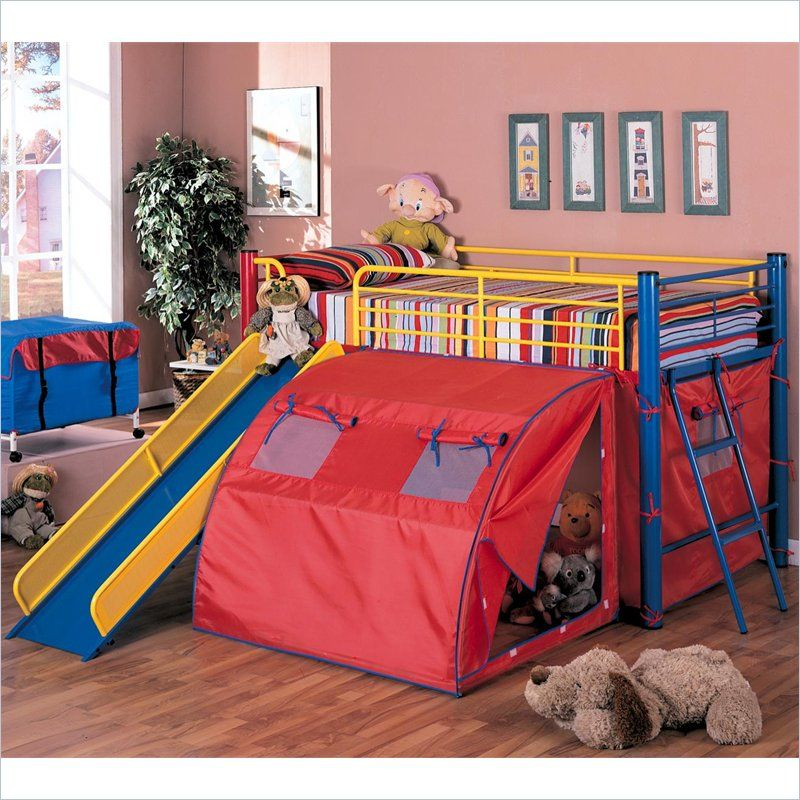 Coaster Metal Twin Loft Bed With Slide And Tent In Red Bunk Bed