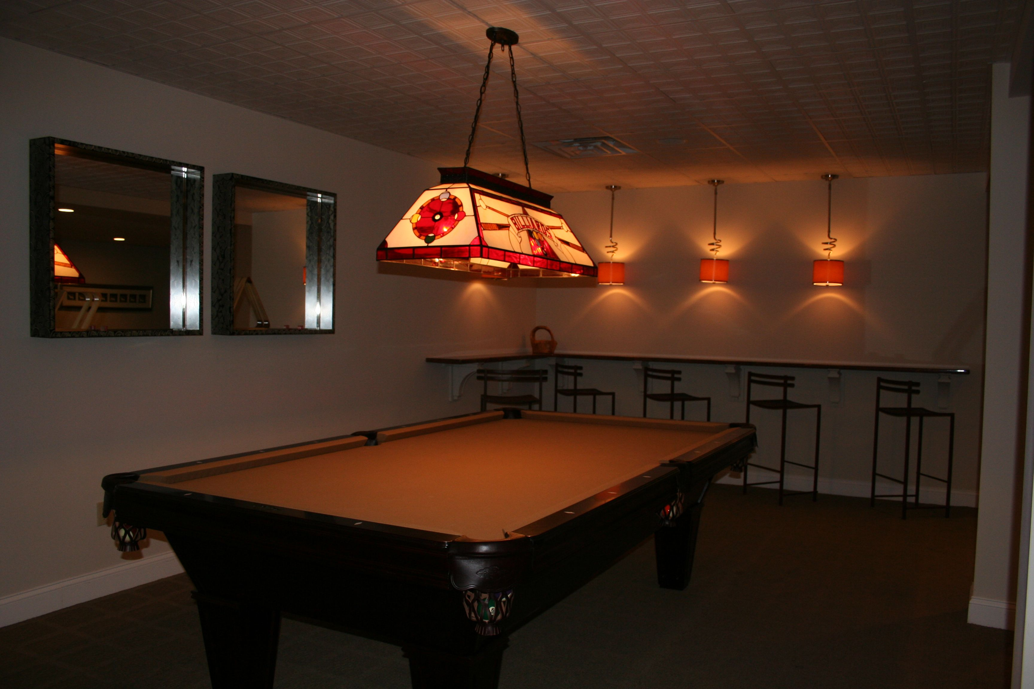 BASEMENT POOL TABLE Wall Seating And Low Light Basement - Pool table seating