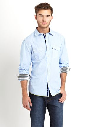 Light blue shirt with contrast striped lining