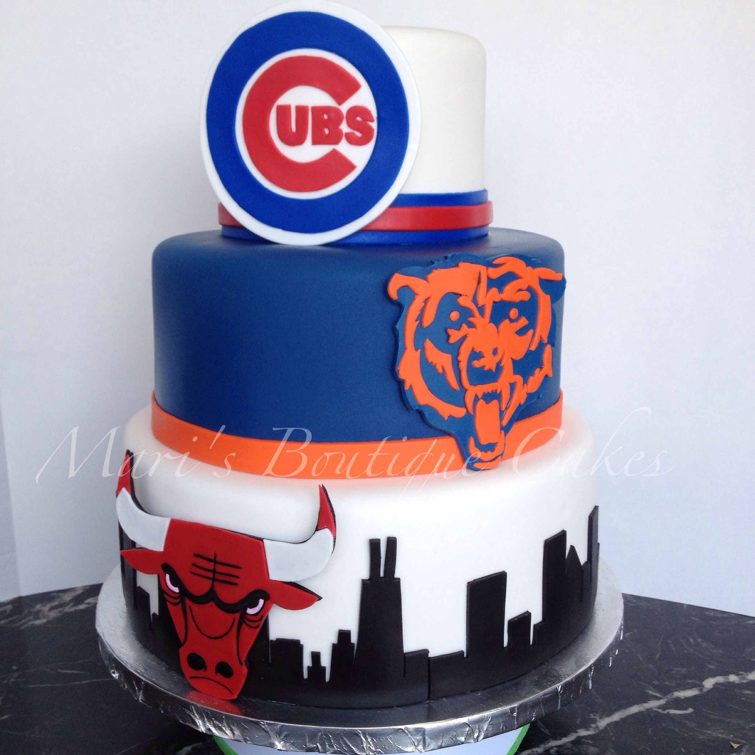Sensational Chicago Cubs Chicago Bears And Chicago Bulls Cake By Maris Birthday Cards Printable Giouspongecafe Filternl