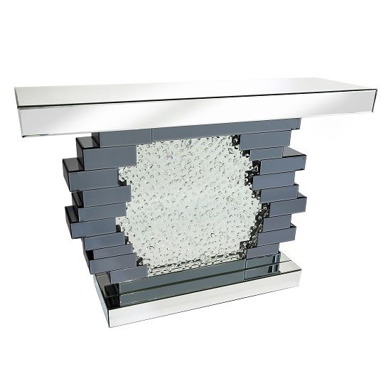 Irvine Glass Console Table With Crystals Mirror In Centre