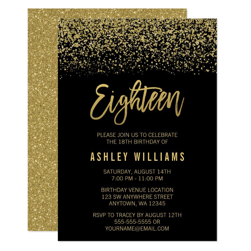 Modern Black Gold Faux Glitter 18th Birthday Invitation Zazzle Com Black Gold Party 18th Birthday 18th Birthday Cards