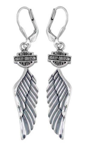 Harley-Davidson Women's Bar & Shield Winged Dangle Earrings HDE0126