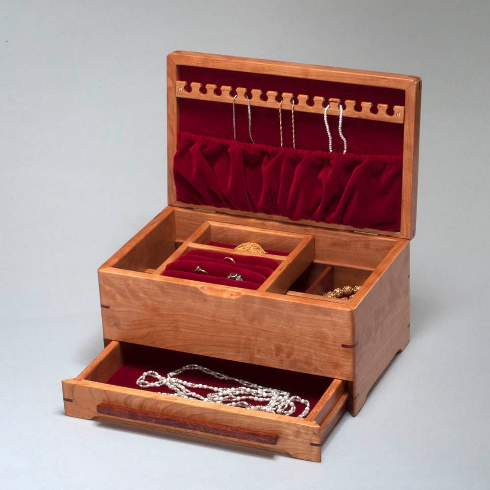 Wood Jewelry Box for Ladies Heirloom Jewelry Box with Sliding Box