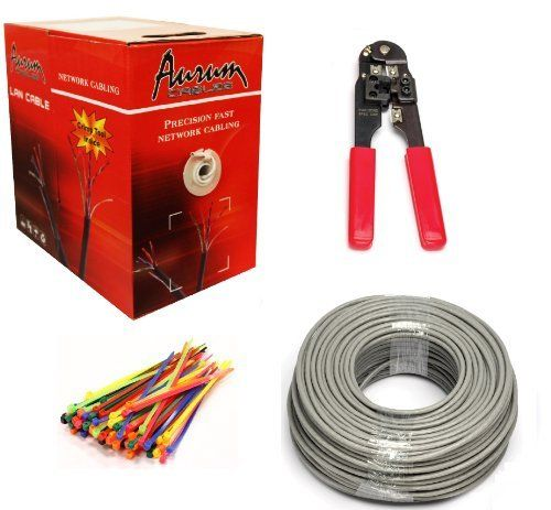 Aurum Cables 4 pair CAT5e Kit – 350 ft CAT5e Ethernet Network Cable – Crimp tool – Pack of Cable…