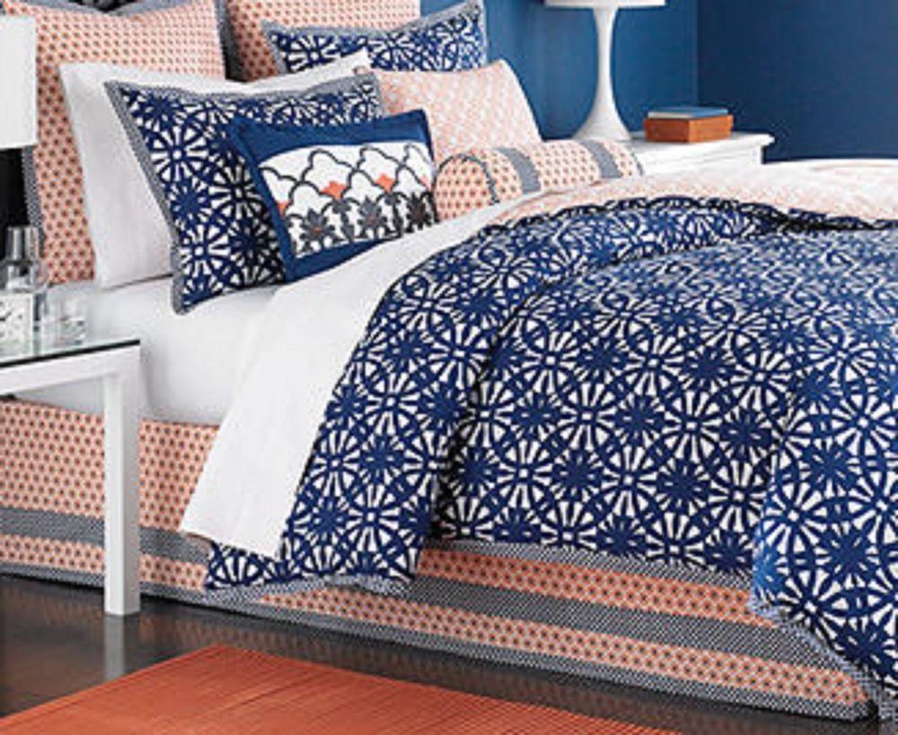 Martha Stewart Bed Skirt King Size Coral Orange And Navy Blue Aka