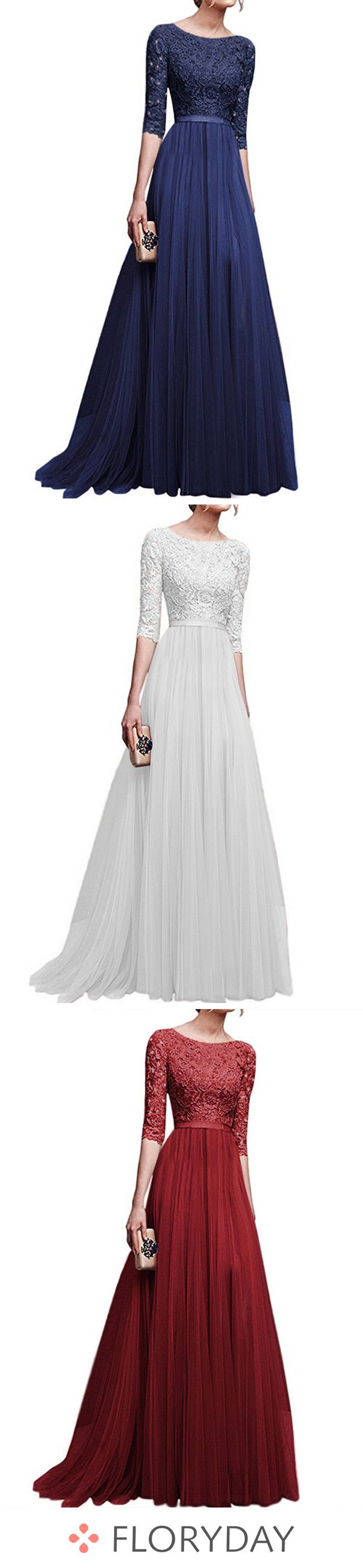 Solid Lace Half Sleeve Maxi A-line Dress 3