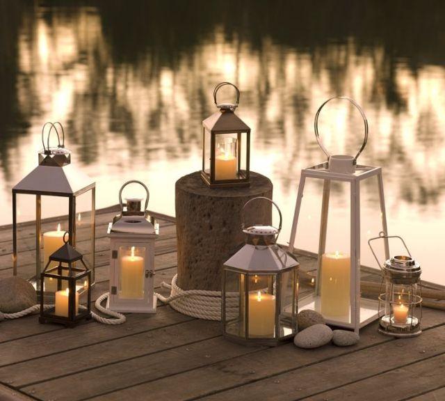 Terrasse Garten Beleuchtung Ideen Metall Laternen Kerzen Aussenleuchten Dekorative Laternen Aussenbeleuchtung