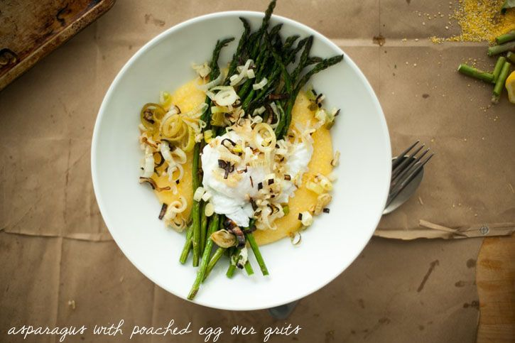 asparagus with poached egg over grits