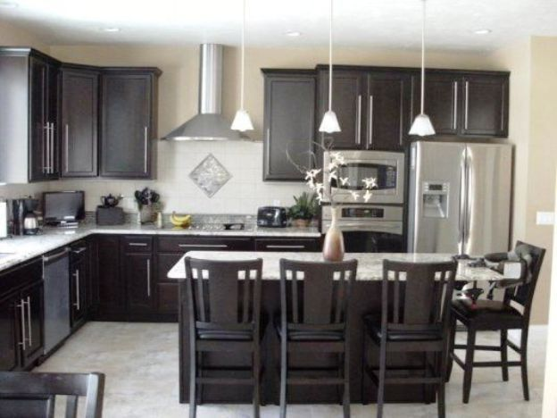 Dark Wood Kitchen Cabinets With Light Granite Countertops