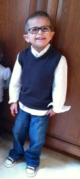 Dressing up... My handsome boy sporting shirt and vest (sold as set) from Target $19, his new stylish Disney glasses from LensCrafters, $99., and his converse gray sneakers $30.  2014 big shout out to his mama that cut his hair.