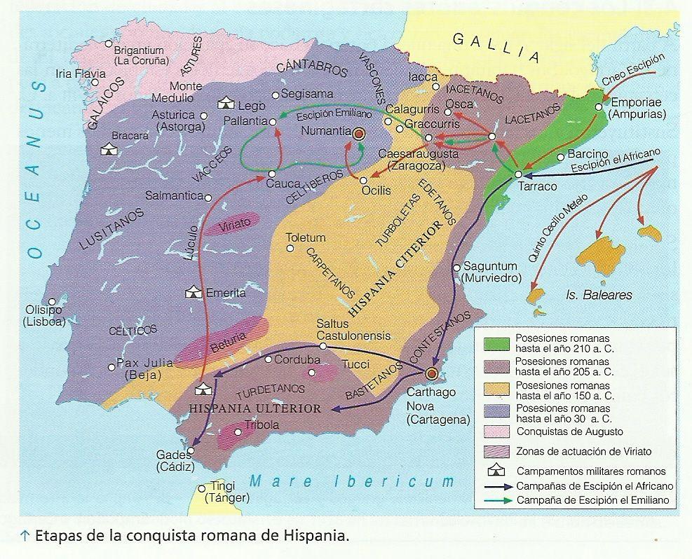 Mapa  La Conquista Romana de la Pennsula Ibrica  Hispania