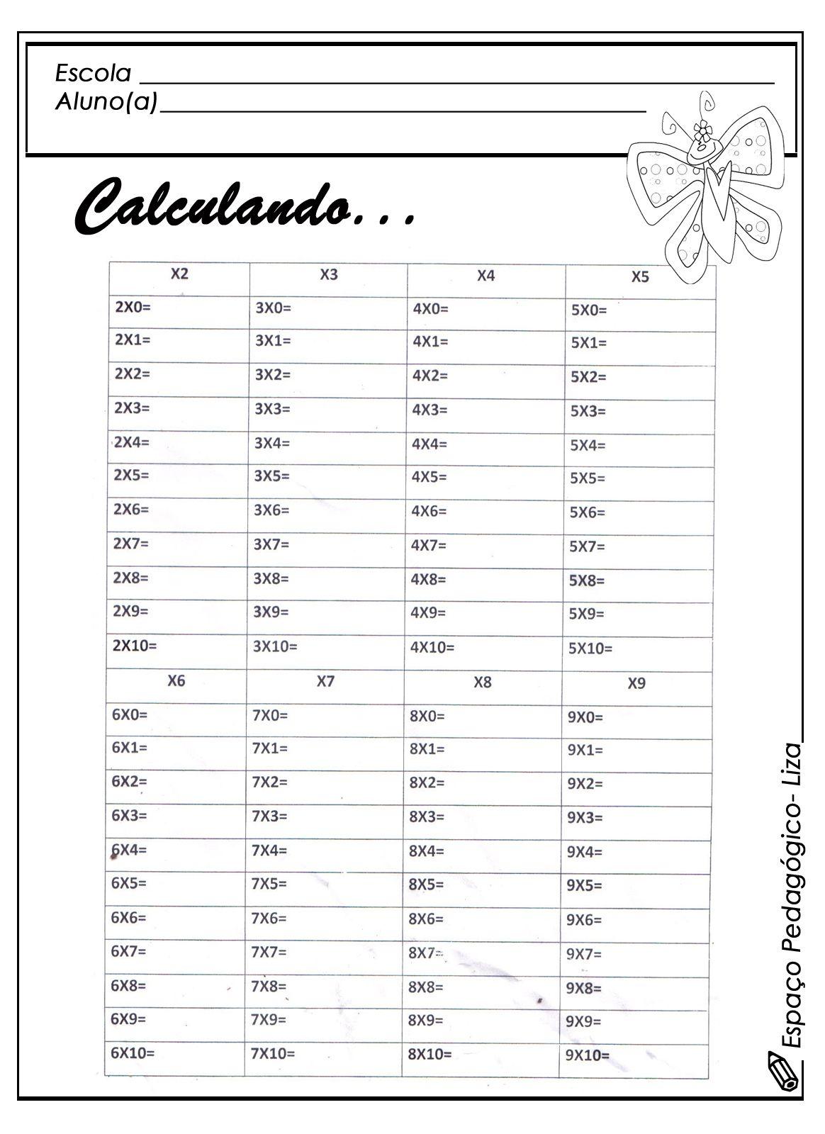 Tabuada De Multiplicacao Para Completar E Imprimir Com Imagens