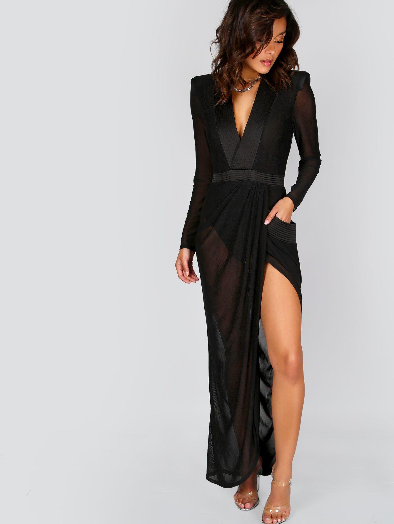 Deep V Neck Shoulder Pads Sheer Wrap Dress BLACK -SheIn(Sheinside ... 226b67305