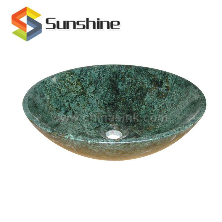 Indian Green Stone Marble Bathroom Round Vessel Sink Vessel Sink